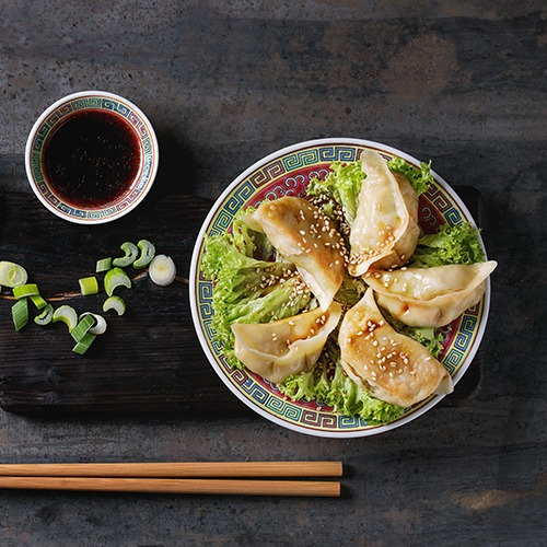 Plate of gyoza potsticker with bowl of soy sauce and chopsticks