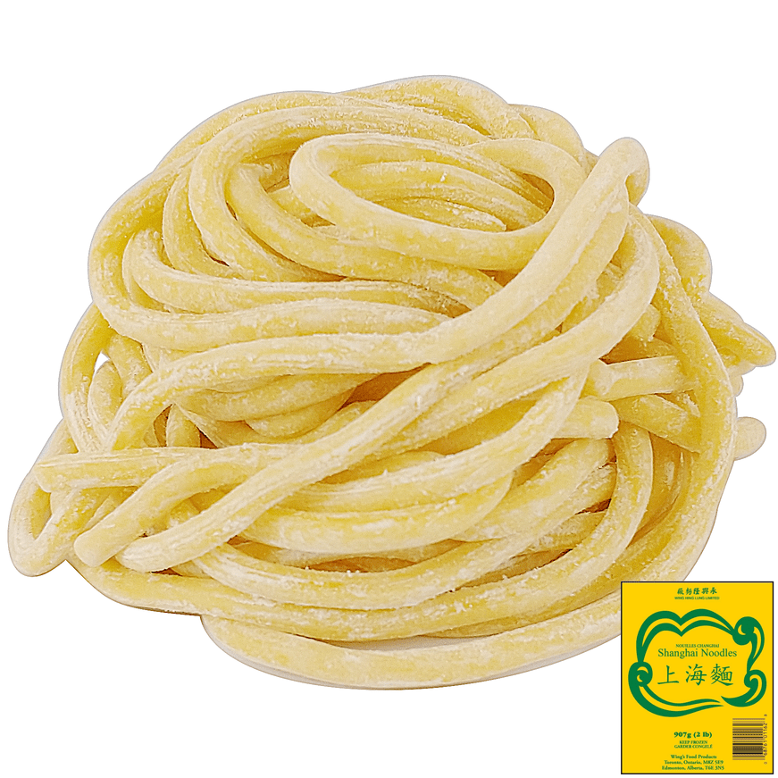 Uncooked, thick, round, white shanghai noodles with packaged thumbnail on the side
