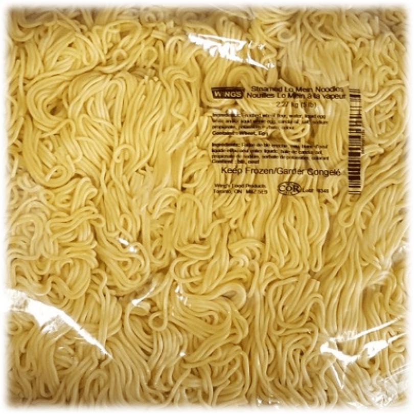 Round egg noodles similar size to spaghetti