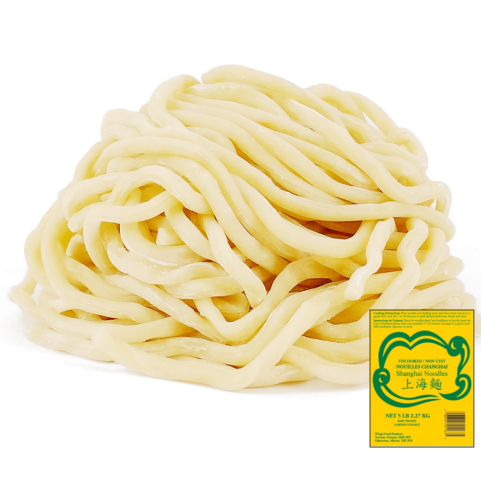 Thick round white shanghai noodles with package thumbnail on the side