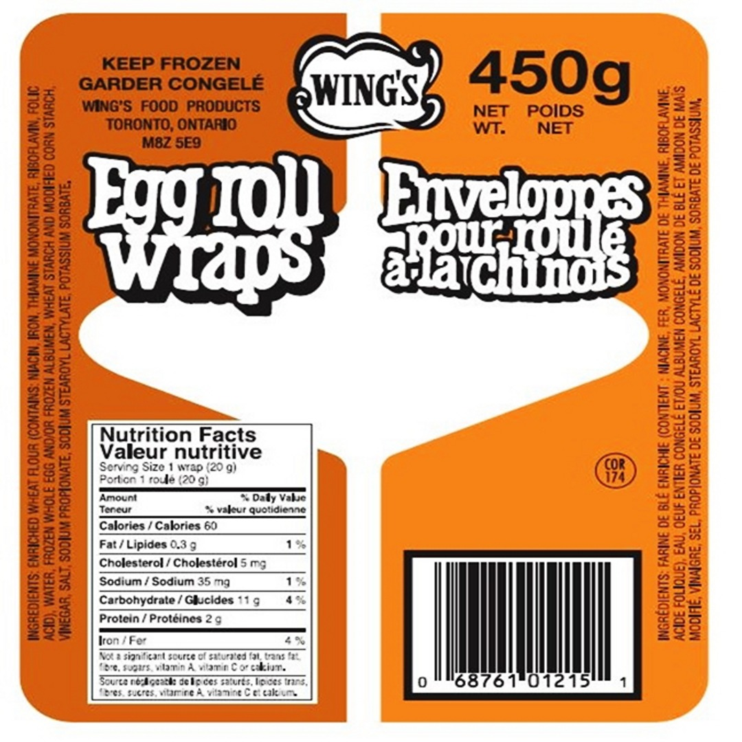 Orange and white pack of eggroll wrappers
