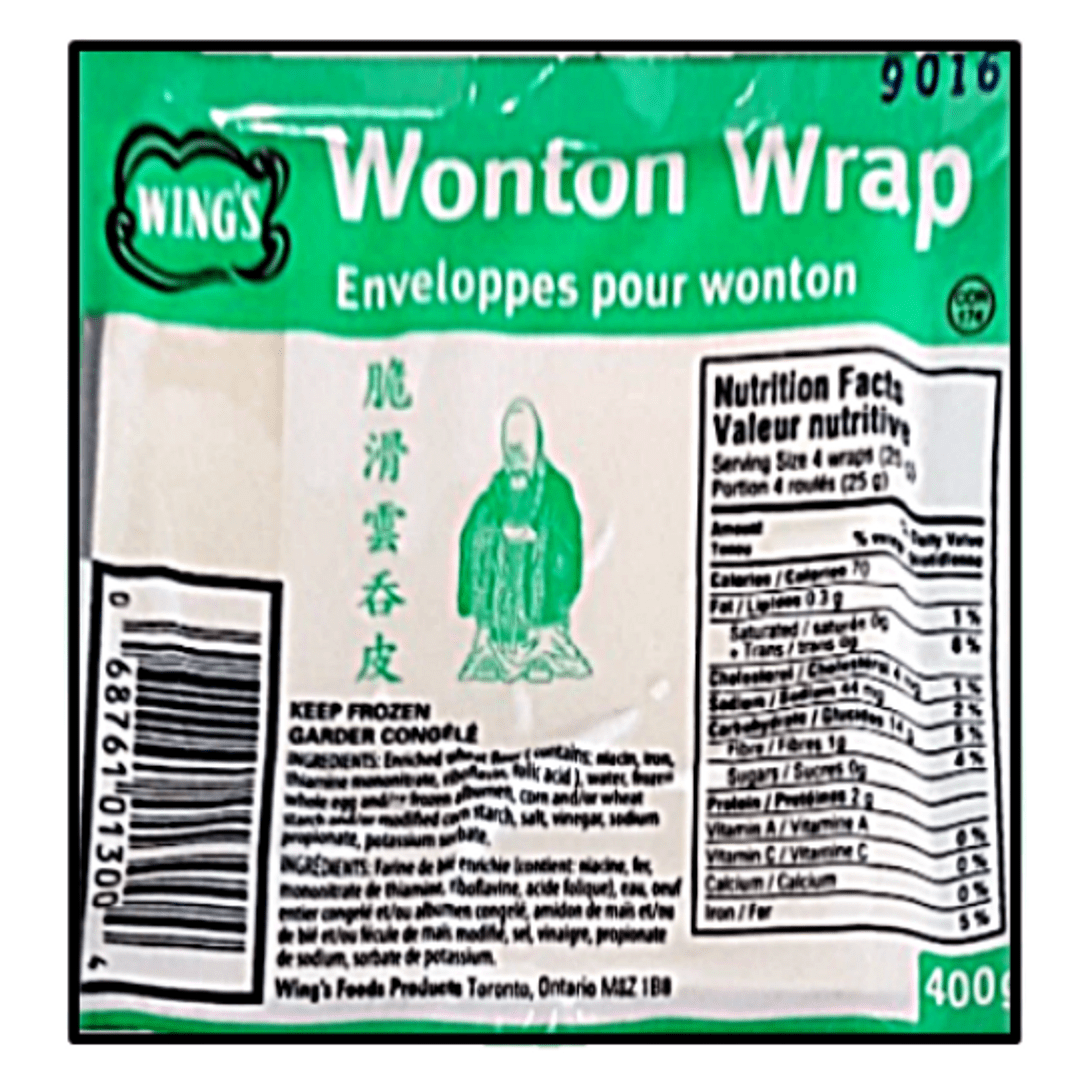 Green and white packaging of wonton wrappers
