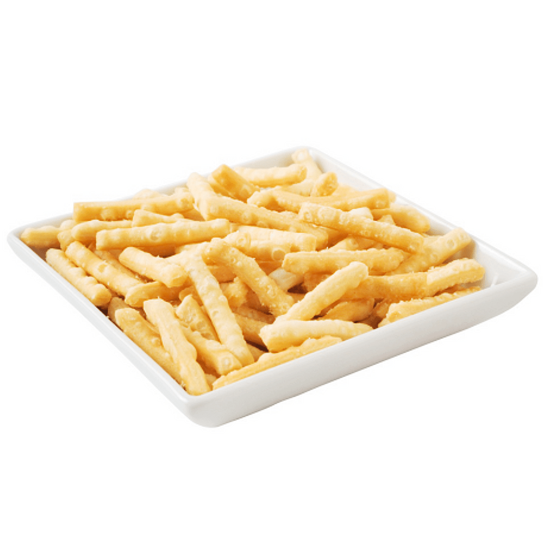 White plate of thick crunchy fried noodles