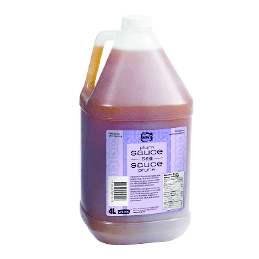 Bottle container of plum sauce
