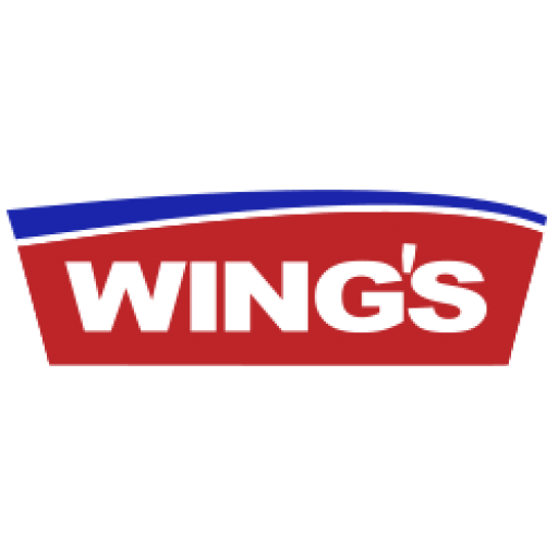 Wing's logo with red and blue background and white text