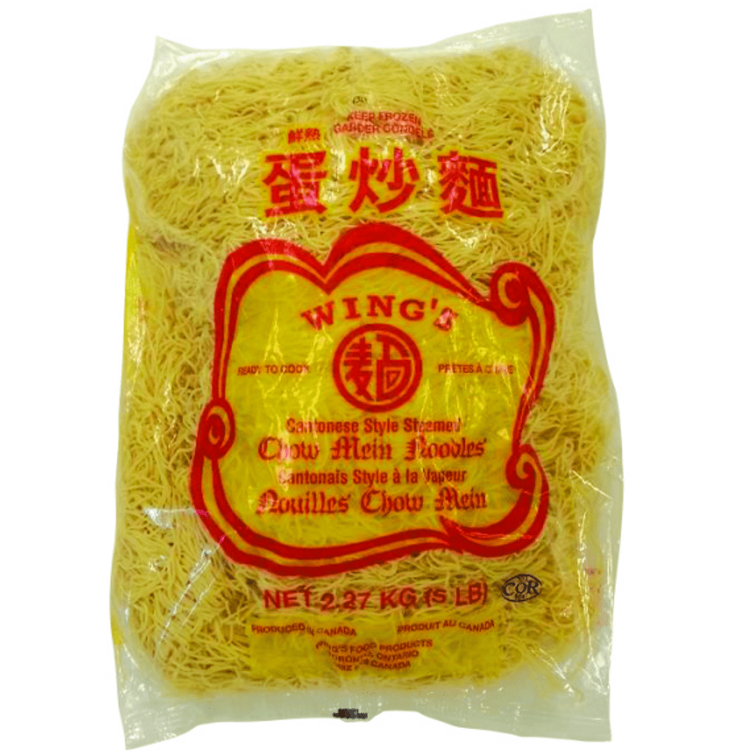 Pack of thin and yellow steamed chow Mein noodles