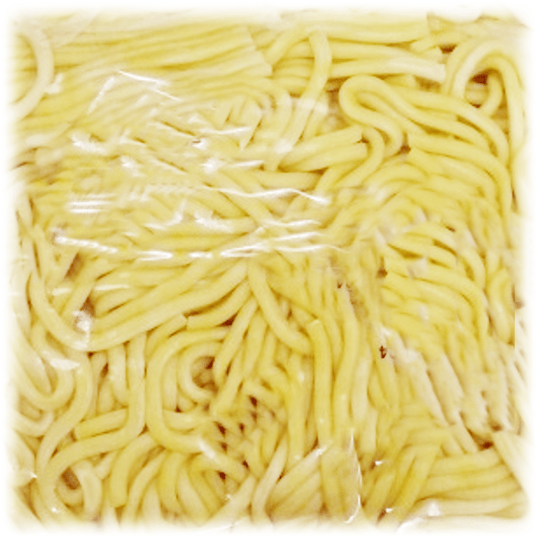 Thick round pale yellow coloured noodles
